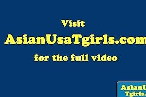 Tugging oriental tgirl outside in her bikini
