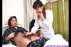 Nurse is touched on cans while stroking patient load of shit
