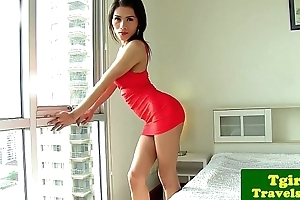 Oriental tgirl Lulu fingers will not hear of tight nub