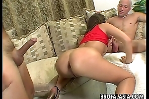 Hot threesome with team a few cock enthusiastic devilish skank