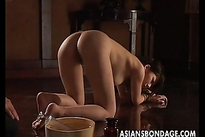Nasty Asian pledged babe gets everywhere be pussy treated