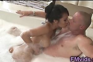 Asa Akira plays with cock