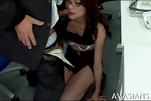 Oriental cute secretary chagrined after work