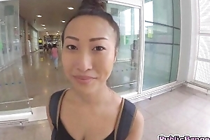 Big titted asian Sharon Lee fucked all over public airport parking sum total