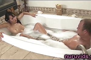 Asa Akira gives a hot tugjob connected with someone's skin bathtub