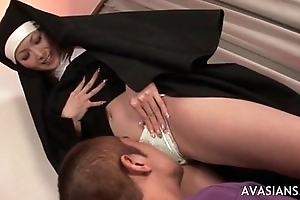 Superb oriental nun gets say no to perishable pussy disobeyed