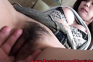 Japanese oral-job babe fingered there her parsimonious muff