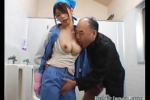 Asian maintenance lady cleans imprecation