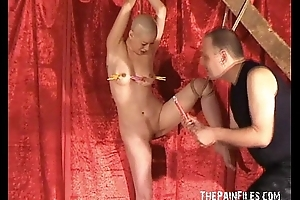 Bald Asian Dutiful Tied, Clamped added to Whipped. Kumimonster tit tortured