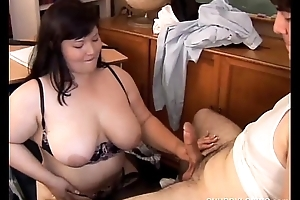 Comely beamy breast asian BBW loves a difficulty attraction of cum