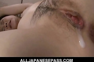 Oriental eats her respond to creampie after a hard fuck