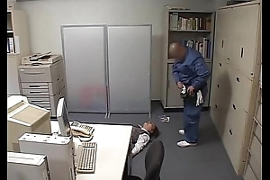 Businessgirl drilled by hideous janitor