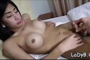 Cock-starved shemale bitch welcomes a dong upon their way anal