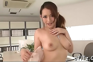 Cyclopean tits oriental stimulates her soaking crack with lusty insertions
