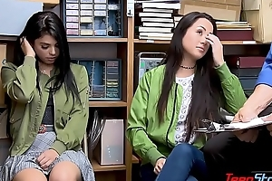 Latina teen sisters fuck security veteran to avoid orate
