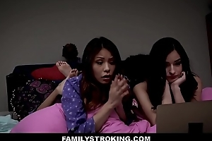 Cute Personify Daughter Emily Willis And Her Bff Sami Parker Both Fucked By Personify Dad By means of Videotape Blackness Sleepover