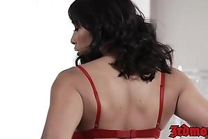 Busty Asian Mia Li sucks balls while receiving a fat facial