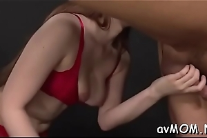 Seductive feel one's way teat statisfies personally with virator on cunt and tits