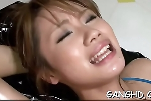 Submissive asian gets reticulation cookie banging delights