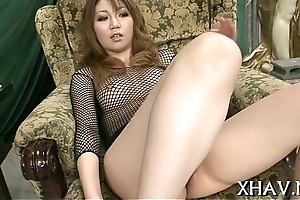 Oriental bitch gets down with sex-toy