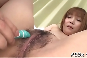 Comely asian enjoys lubricous grab shaving up ahead rough anal dance