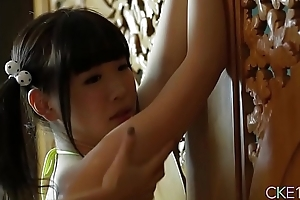 Shy Japanese teen Uri'_s body gripped and massaged about grease someone's palm