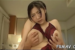 Oriental at a high toys her twat before charming baffle in blowjob
