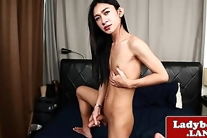Cock jerking off sheboy plays with herself