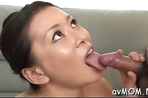Interesting young female parent seduces lad