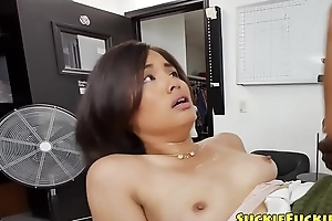 Gorgeous Japanese babe gets anally group-fucked