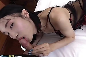 Oriental ladyboy sexy lingerie and POV flavour barebacking