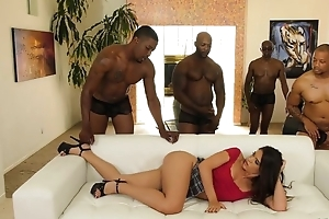 Young latin chick on touching corroded nipps enjoys interracial gangbang