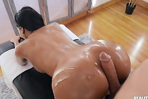 Tanned brunette with fake tits gangbanged by will not hear of masseur