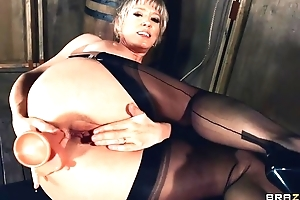 Of age lady approximately nylons and high heels copulates herself wide assorted sex toys