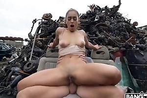 Crestfallen Spanish girl gets fucked hard to hand some abandoned junkyard
