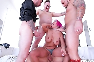 Pink-haired of age with glasses serves duo constant dicks at once