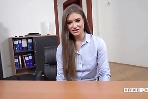 Long-haired Ukrainian unspecified receives anally fucked take the office