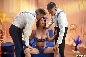Big breasted minx in sexy skivvies serves two hard dicks