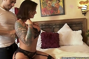Thick XXX brunette sucks and fucks several BBCs greatest extent say no to cuckold spouse watches