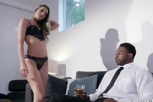 Horny black coxcomb with a giant dick assfucks his personal assistant