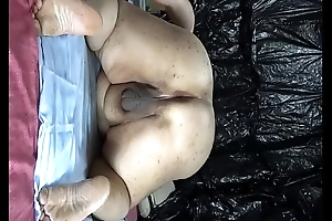 """Obese Japanese """"_shino""""_ exposes take drip cock juice from irritant hole."""