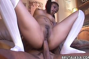 Big irritant Oriental babe has a hot anal fuck