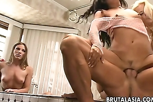 Super hot harlots are getting screwed hard near a threesome